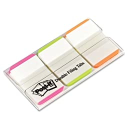 Post-it Durable Index Tabs, 1, Ideal For Binders And File Folders, Assorted Colors, 66 per Dispenser (686L-PGO)