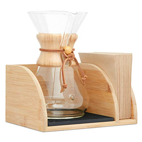 Hoovy Caddy for Chemex Coffeemaker – Luxurious Bamboo Wood Coffee Maker Tray With Filter Holder, Silicone Heat Pad & Black Dishwasher Safe Drying Mat – Decorative Pour Over Coffee Maker Stand
