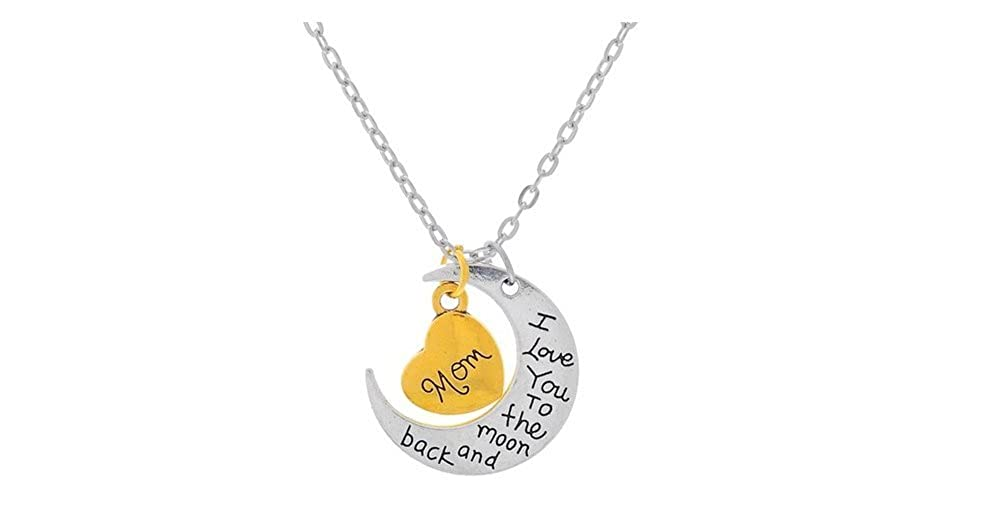 I Love You to the Moon And Back Pendant Necklace For Mom Silver Tone And Gold Tone