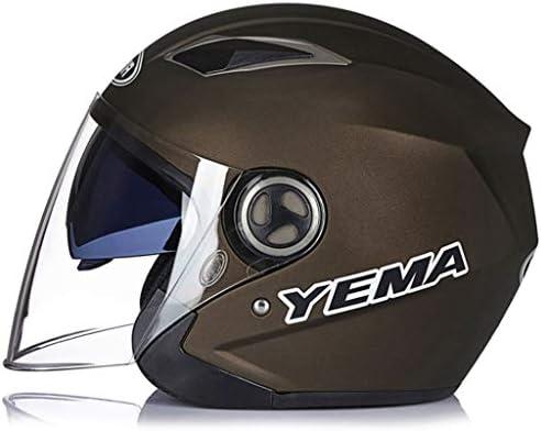 NJ ヘルメット- オートバイのヘルメットの男性と女性の半分のヘルメット4シーズンハーフカバーダブルミラー耐摩耗防曇のヘルメット (色 : Dumb copper, サイズ さいず : 32x24x24cm)