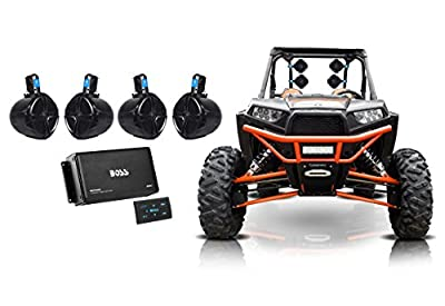 "(4) Rockville 8"" 300w Tower Speakers+4-Ch Bluetooth Amp+Remote ATV/UTV/RZR/Cart"