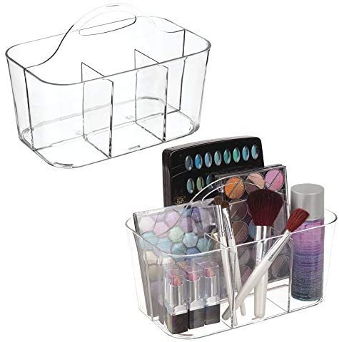 mDesign Plastic Makeup Storage Organizer Caddy Tote – Divided Basket Bin, Handle for Bathroom – Holds Eyeshadow Palettes, Nail Polish, Makeup Brushes, Blush, Shower Essentials – Small, 2 Pack – Clear