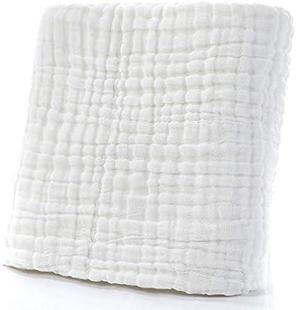 Manta de 6 capas para bebé, de gasa de algodón, para dormir, térmica, de muselina, para envolver la toalla de baño de bebé, 110 x 110 cm blanco blanco Talla:110cmx110cm
