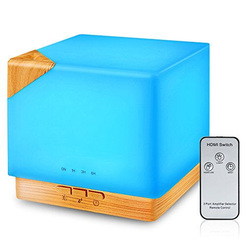 URPOWER 700ml Square Essential Oil Diffuser, Remote Control Ultrasonic Humidifier Aromatherapy Diffuserwith 7 Color LED Lights Adjustable Mist Mode Waterless Auto Shut-Off for Office Home Study Yoga