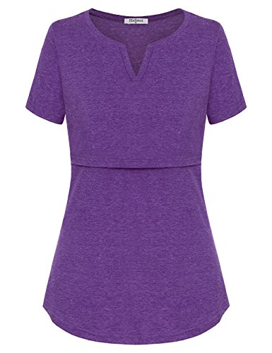 Hellmei Nursing Clothes for Breastfeeding, Short Sleeve Maternity Shirt Tunic Feeding Flattering Cotton Blend Trapeze Double Layered Tops Pregnancy Nursing Outfits for Women Violet Large by Hellmei (Image #1)