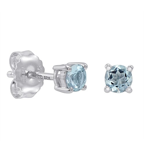 Aquamarine Stud Earrings Set in Sterling Silver (4mm 1/2ct (Aquamarine Sterling Silver Stud)