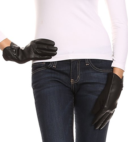Sakkas 16165 - Pamb Faux Leather Heather Knit Button Front Warm Winter Touch Screen Gloves - Black - L/XL