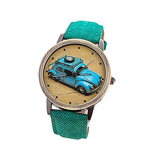 Clearance! Charberry Mens Denim Twill Belt Watch Retro Car Pattern Denim Twill Strap Watch (Green) (Croc Pattern Leather)