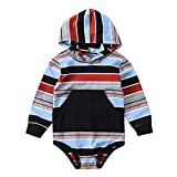 Autumn Baby Romper,Fineser Newborn Infant Baby Girls Boys Long Sleeve Colorful Stripe Hooded Romper Jumpsuit Clothes (Gray, 6-12 Months(80))