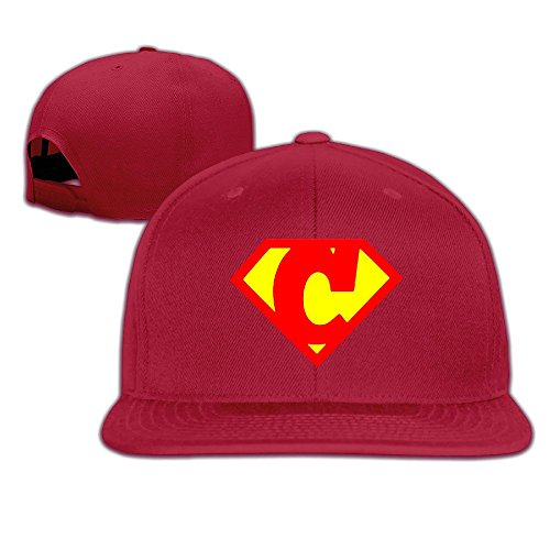 custom-unisex-cartoon-letter-c-flat-billed-baseball-caphat-red