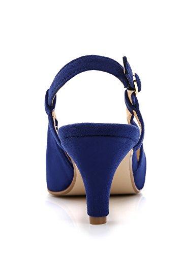 Scarpe Donna Comeshun Tacco Gessato Gonnellino In Camoscio Blu