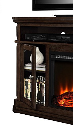 """Ameriwood Home Brooklyn Electric Fireplace TV Console for TVs up to 50"""", Espresso"""
