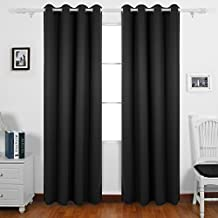 Deconovo Thermal Insulated Blackout Curtains Grommet Window Panel For Kids Bedroom Black 55 X 63 Inch Set of 2