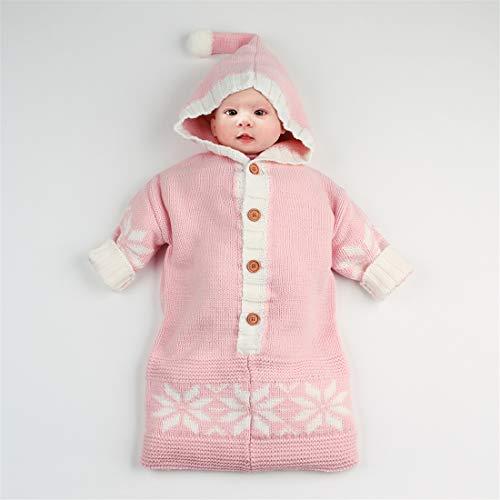 Yeying123 Saco de Dormir de Color sólido del Copo de Nieve recién Nacido Capa de la Envoltura Bebé Lindo Saco de Dormir al Aire Libre a Prueba de Viento ...