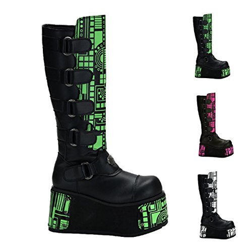 Demonia Techno-850UV - UV-reactive gothique Industrial cyber mega plateau bottes chaussures unisex 36-45
