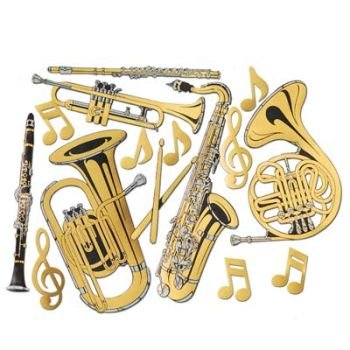 Gold Foil Musical Instrument Cutouts (15/Pkg) (Musical Instrument Decorations)
