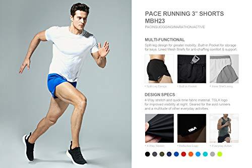 TSLA Men's Active Running Shorts, 3 Inch Quick Dry Mesh Jogging Workout Shorts, Gym Athletic Marathon Shorts with Pockets