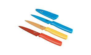 Kuhn Rikon COLORI Straight Paring Knife with Safety Sheath, 4 inch/10.16 cm Blade, Set of 3, Red, Yellow and Blue