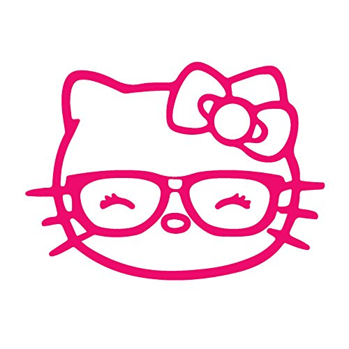 Hello Kitty Silhouette (ANGDEST Hello Kitty Glasses (PINK) (set of 2) Premium Waterproof Vinyl Decal Stickers for Laptop Phone Helmet Car Window Bumper Mug Tuber Cup Door Wall Decoration)