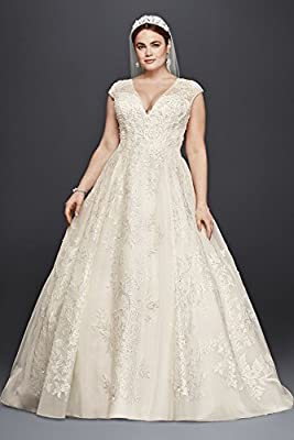 Tulle Oleg Cassini Plus Size Ball Gown Wedding Dress Wedding Dress Style 8CWG748