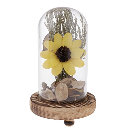 MagiDeal Dried Flower In Glass Bottle Handmade Sunflower MicroLandscape - Yellow