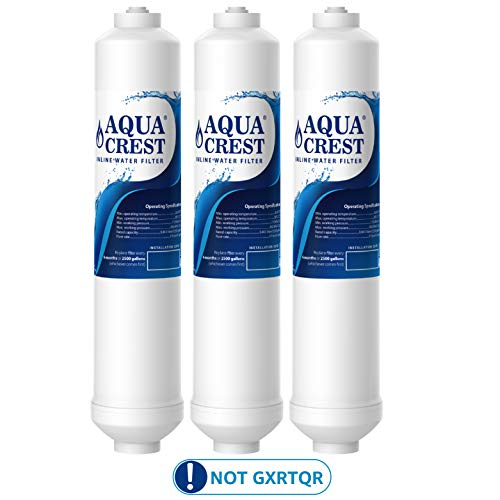 AQUACREST Replacement GXRTDR Exterior Refrigerator Icemaker Water Filter, Compatible with GE GXRTDR, Samsung DA29-10105J, Whirlpool WHKF-IMTO (Pack of 3, Package May Vary)