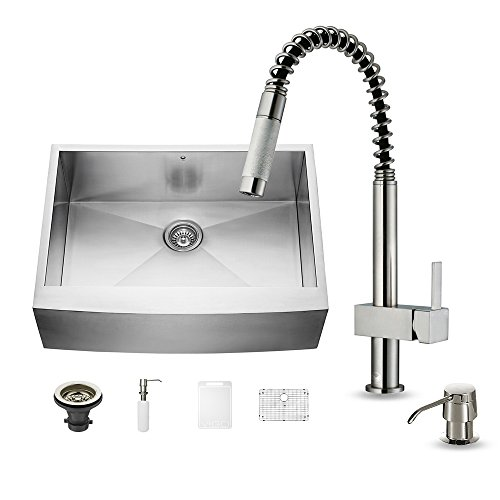 VIGO 30 inch Farmhouse Apron Single Bowl 16 Gauge Stainless Steel Kitchen Sink with Lincroft Stainless Steel Faucet, Grid, Strainer and Soap Dispenser by Vigo