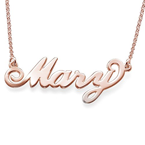 LONAGO Personalized Name Necklace Custom Made Any Name Rose Gold Father's (Rose Gold Plated Copper, ()