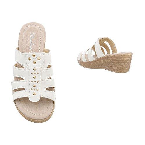 Sandalias S282 Zuecos Zapatos Para Blanco de Plataforma Ital Vestir Mujer Design wvqI8I