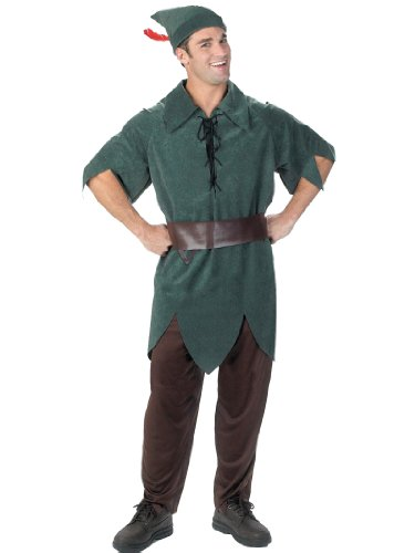 Peter Pan Costume Disney Hero Green Tunic Pants Belt Theatrical Mens Costume
