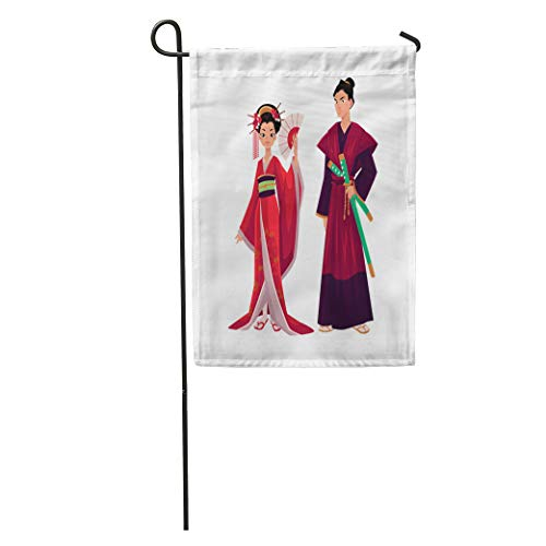 Semtomn Garden Flag Japanese Geisha and Samurai in Traditional Kimono Symbols of Japan Home Yard House Decor Barnner Outdoor Stand 28x40 Inches -