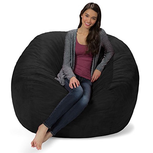 Comfy Sacks 5 ft Memory Foam Bean Bag Chair, Jet Black Cords