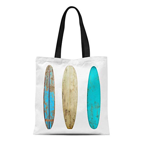 Semtomn Cotton Canvas Tote Bag Vintage Wood Surfboard White Clipping Path for Object Retro Reusable Shoulder Grocery Shopping Bags Handbag Printed (Best Longboard Surfing Videos)