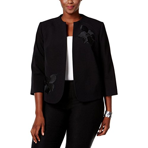 Nine West Womens Plus Taylor Applique-Flower Collarless Blazer Black 22W