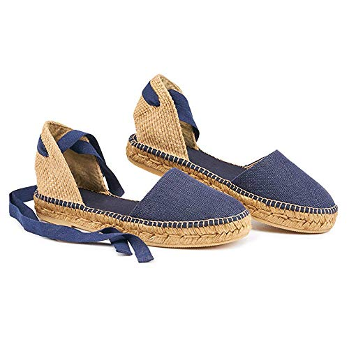 LAICIGO Womens Espadrille Flat Sandals Ankle Strap Open Toe Summer Platform Wedge Sandals
