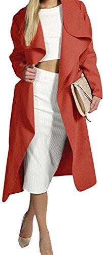 Roberoody Fashionable Women's Elegant Wool Blend Long Trench Coat Long Jacket RedMedium