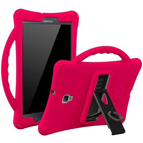 Samsung Tab A 8.0 T380 Case, Armera Rugged Heavy Duty Case Cover with Carry On Handle Kickstand and Finger Ring Holder for Samsung Galaxy Tab A 8.0 2017 SM-T380/T385 / Samsung Tab A2 S 2017, Magenta