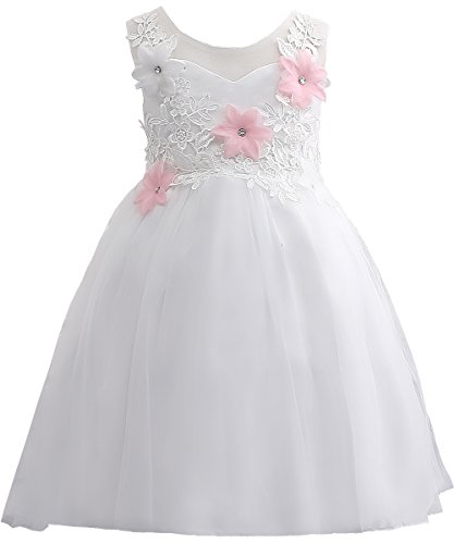 PLwedding Girl Clothes Lovely Evening Dresses Cute Pageant Dresses White Size 9-10 (Cute Girl In White Dress)