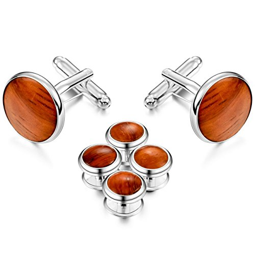 Red Plated Cufflinks - MOWOM Silver Tone Red Rhodium Plated Wood Cufflinks Stud Tuxedo Set
