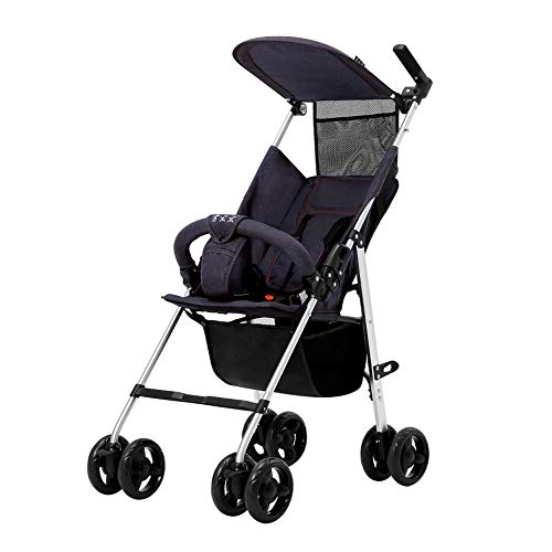 LIZONGFQ Lightweight Stroller Buggy Pushchair with Canopy,Folding Aluminum Alloy Extendable Hood and Rain Cover, 0 Months-3.5 Years, 0-15 kg, Blue