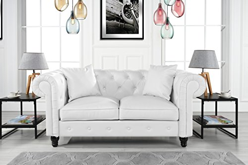 Classic Living Room Bonded Leather Scroll Arm Chesterfield Loveseat (White)