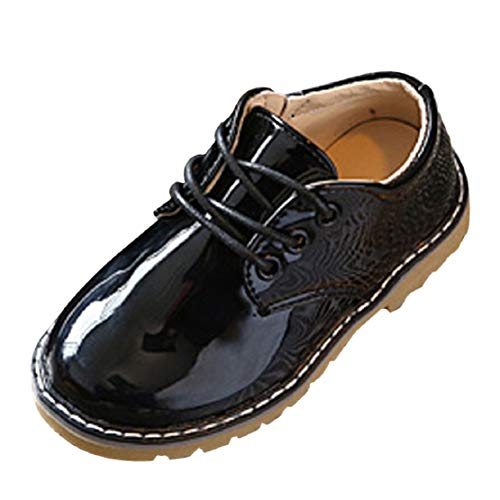 Toddler Kids Girls School Uniform Flat Shoes British Style Patent Leather Lace up Dress Oxfords (1-3.5Y) by Lowprofile Black from Lowprofile Baby Shoes
