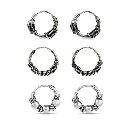 LeCalla Sterling Silver Set of 3 Pair Bali Endless Hoop Earring for Cartilage Nose for Teen Men and Women