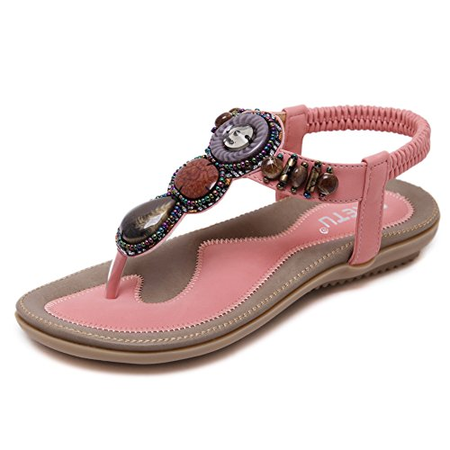 Ruiren Round Peep Toe Bead Elastic Bohemian Sandals for Women, Summer Beach Post Sandals Flip Flops Flat Shoes for Ladies Pink