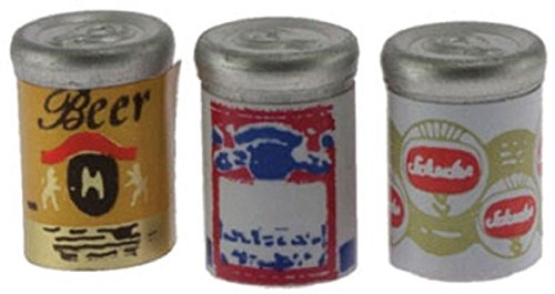 Dollhouse Miniature Beer Cans (Accessory Set 1 Inch Scale)