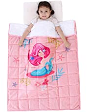 Topblan Kids Fleece Weighted Blanket for Toddlers, Ultra Comfy Flannel with Cute Cartoon Prints, Plush Fuzzy Warm Coral Velvet Throw Blanket