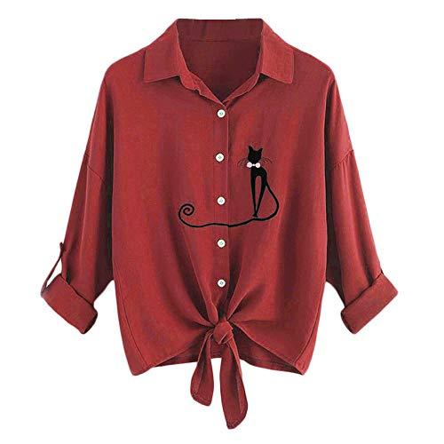 Beste Lazzboy Damen Langarmshirt Katze Shirt Gestreift