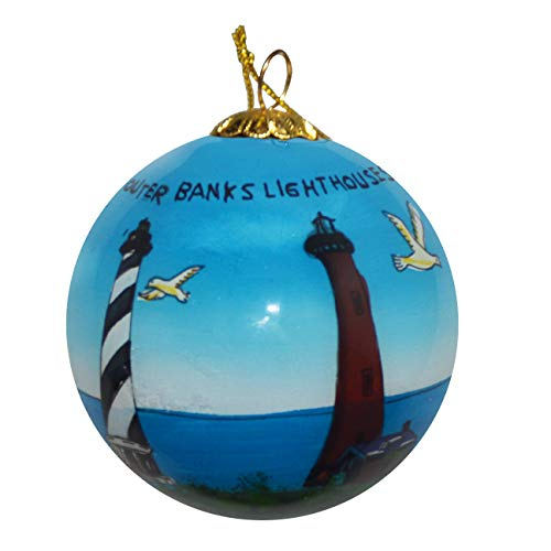 Art Studio Company Hand Painted Glass Christmas Ornament - Outer Banks Lighthouses (Studio Decor Christmas Ornament)