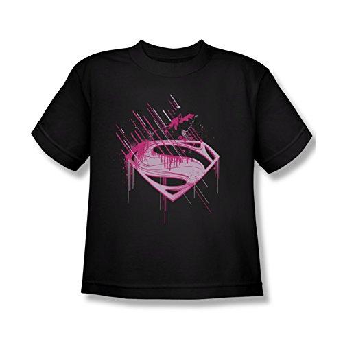 Superman Man of Steel Mos Pink Splatter Youth T-Shirt Small Black