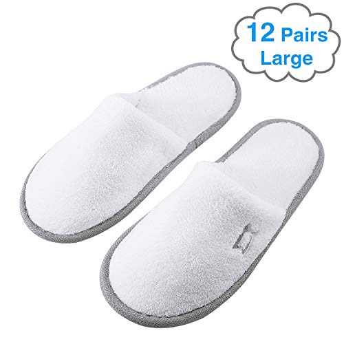 Foorame Spa Slippers, Indoor Hotel Slippers Closed Toe, Disposable for Men and Women, Fluffy Coral Fleece, Deluxe Padded Sole for Extra Comfort (Large Size, 12 Pairs)